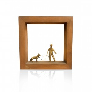 Wall-mounted wooden frame with dog theme. Handmade decorations