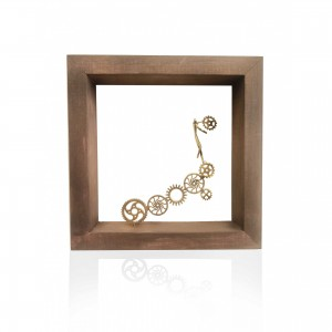 Wall frame with thread - gears Handmade decorations