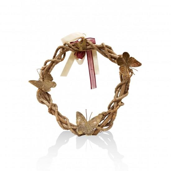 Wooden wreath - butterflies