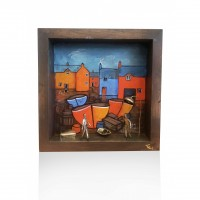 Wall wooden frames with painting