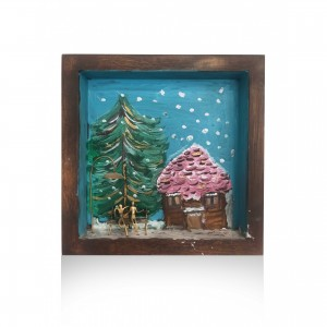 Wall frame painted with theme - snowy landscape Handmade decorations