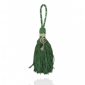 Silver charm with tassel - musical key Christmas presents