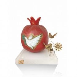 Ceramic pomegranate - bird