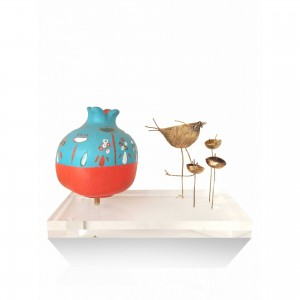 Ceramic pomegranate with theme - the flowers Gifts