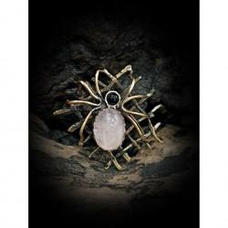 Brass brooch - spider - web