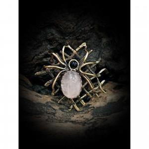 Brass themed brooch - spider web jewelry