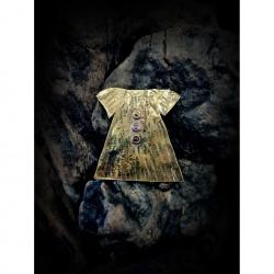 Brass brooch - dress