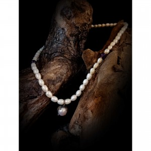 "Women's necklace ""pearl & amethyst"" jewelry"