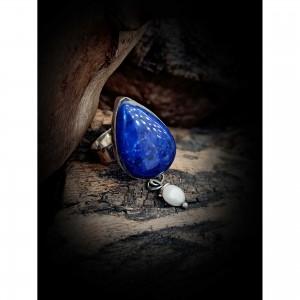 Silver lapis lazuli silver ring irregular jewelry