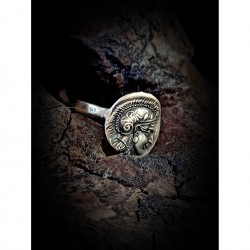 Athena and owl coin ring