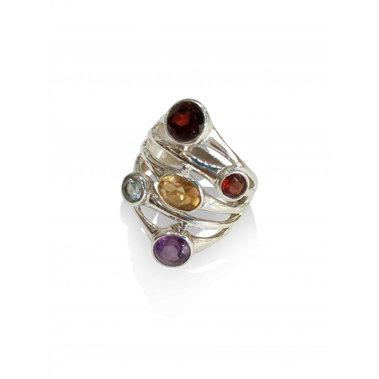 Ring silver with faceted stones