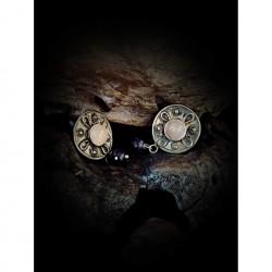 Clip earrings - pink quartz