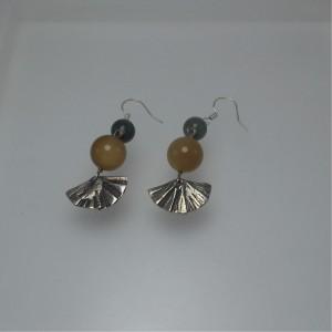 Silver earrings (fans) jewelry