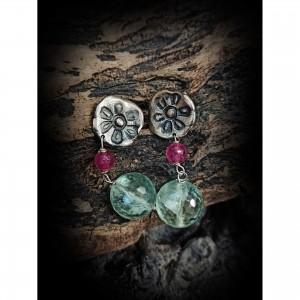 Silver earrings (florist) jewelry