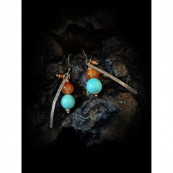 Agate and turquoise - earrings