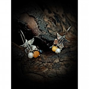Women's silver earrings - butterfly