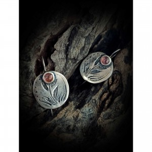Silver Earrings (925o) - pink foliage