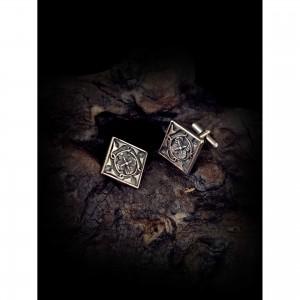 Handmade cufflinks with theme - silver design - Byzantine men's gift