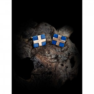 Handmade cufflinks with theme - Greek flag